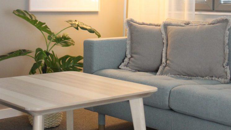 Valaistu sisätila, jossa harmaa sohva, viherkasvi ja puinen pöytä